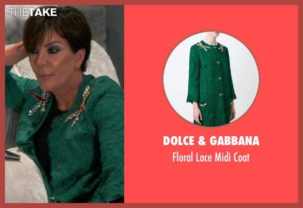 Dolce & Gabbana green coat from Keeping Up With The Kardashians seen with Kris Jenner