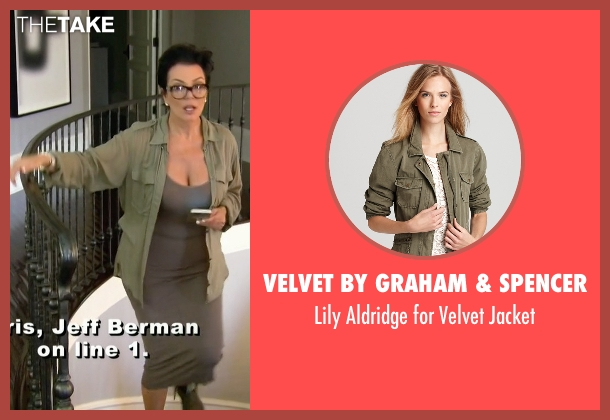 Velvet by Graham & Spencer green jacket from Keeping Up With The Kardashians seen with Kris Jenner