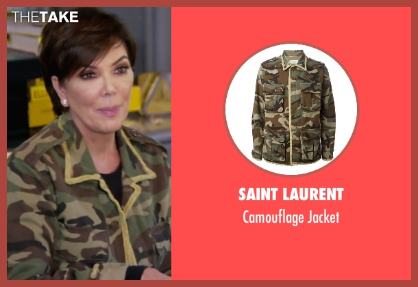 Saint Laurent green jacket from Keeping Up With The Kardashians seen with Kris Jenner