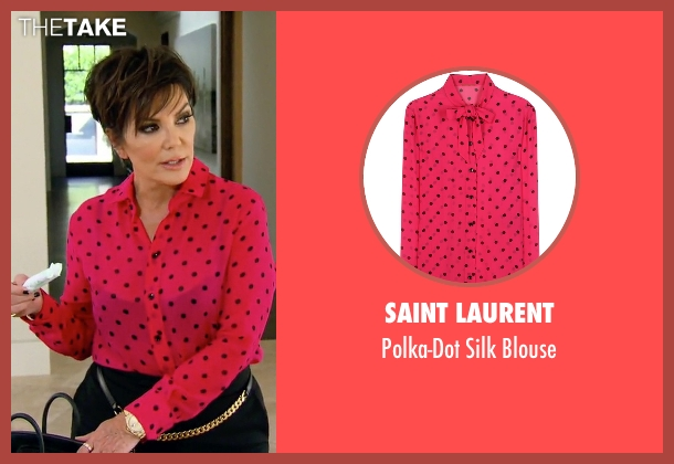 Saint Laurent pink blouse from Keeping Up With The Kardashians seen with Kris Jenner