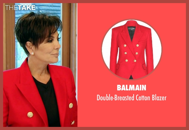 Balmain red blazer from Keeping Up With The Kardashians seen with Kris Jenner