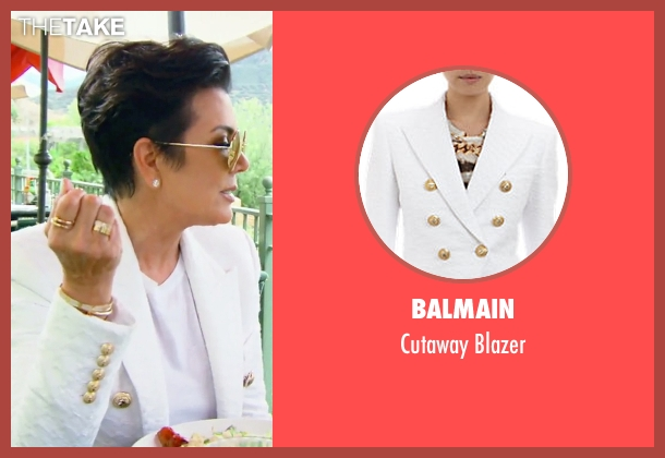 Balmain white blazer from Keeping Up With The Kardashians seen with Kris Jenner