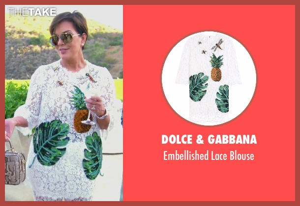 Dolce & Gabbana white blouse from Keeping Up With The Kardashians seen with Kris Jenner