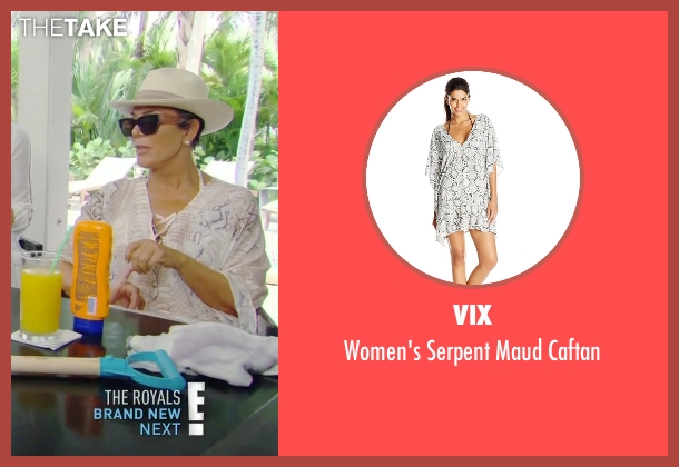 Vix white caftan from Keeping Up With The Kardashians seen with Kris Jenner