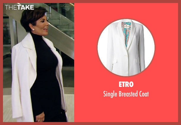 Etro white coat from Keeping Up With The Kardashians seen with Kris Jenner