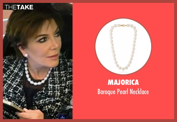 Majorica white necklace from Keeping Up With The Kardashians seen with Kris Jenner