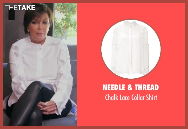 Needle & Thread white shirt from Keeping Up With The Kardashians seen with Kris Jenner
