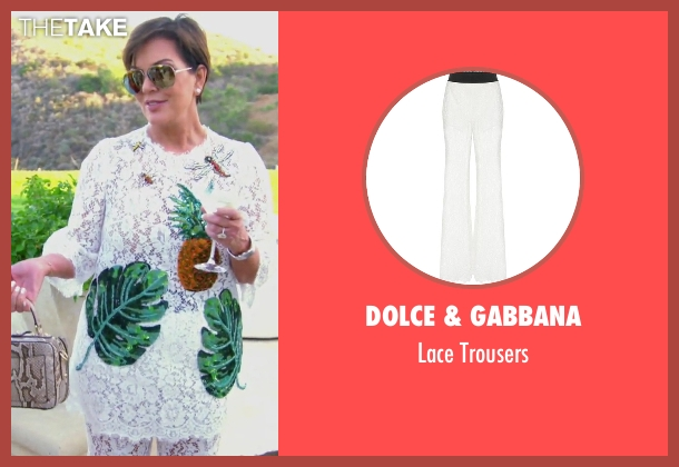 Dolce & Gabbana white trousers from Keeping Up With The Kardashians seen with Kris Jenner