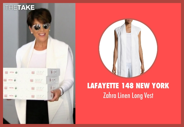 Lafayette 148 New York white vest from Keeping Up With The Kardashians seen with Kris Jenner