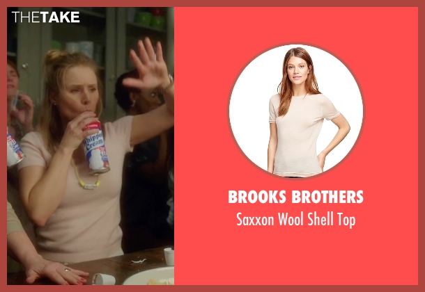 Brooks Brothers beige top from Bad Moms seen with Kristen Bell (Kiki)