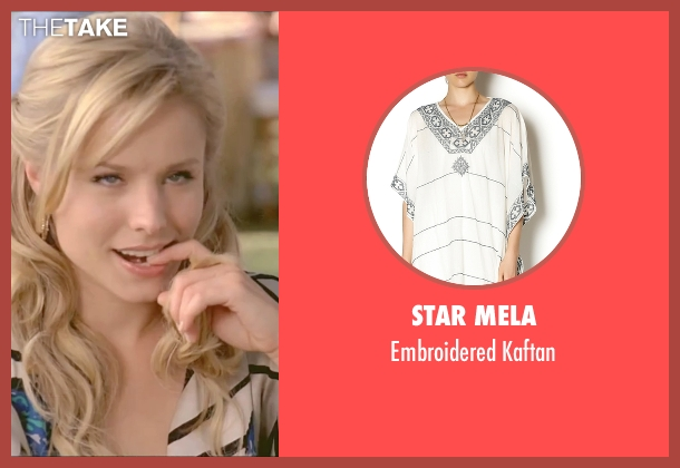 Star Mela white kaftan from Forgetting Sarah Marshall seen with Kristen Bell (Sarah Marshall)