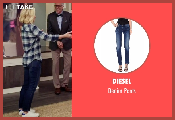 Diesel blue pants from The Good Place seen with Eleanor Shellstrop (Kristen Bell)