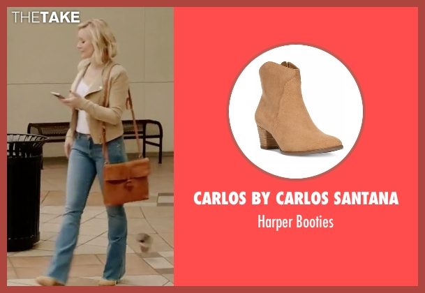 Carlos By Carlos Santana brown booties from The Good Place seen with Eleanor Shellstrop (Kristen Bell)