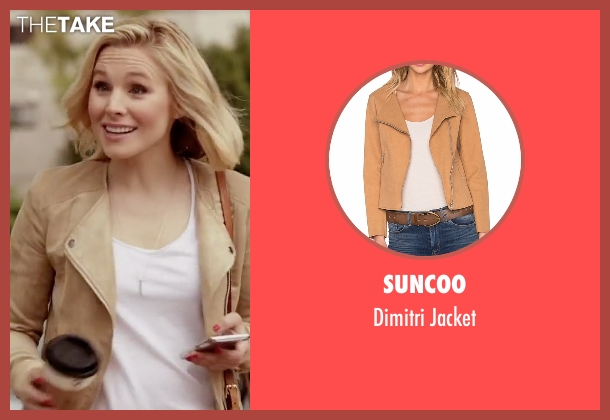 Suncoo brown jacket from The Good Place seen with Eleanor Shellstrop (Kristen Bell)