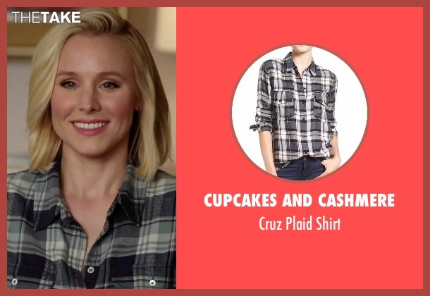 Cupcakes And Cashmere gray shirt from The Good Place seen with Eleanor Shellstrop (Kristen Bell)