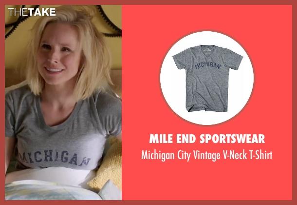 Mile End Sportswear gray t-shirt from The Good Place seen with Eleanor Shellstrop (Kristen Bell)