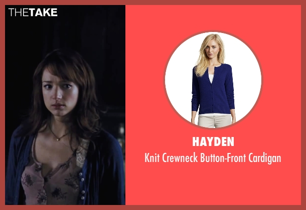 Hayden blue cardigan from Cabin in the Woods seen with Kristen Connolly (Dana)