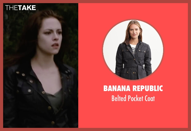 Banana Republic black coat from The Twilight Saga: Breaking Dawn - Part 2 seen with Kristen Stewart (Bella Swan)