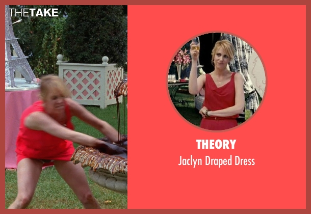 Theory red dress from Bridesmaids seen with Kristen Wiig (Annie Walker)