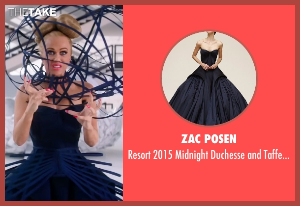 Zac Posen blue gown from Zoolander 2 seen with Kristen Wiig (Alexanya Atoz)