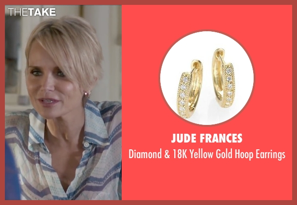 Jude Frances gold earrings from The Boy Next Door seen with Kristin Chenoweth (Unknown Character)