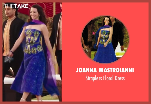 Joanna Mastroianni blue dress from Sex and the City 2 seen with Kristin Davis (Charlotte York)
