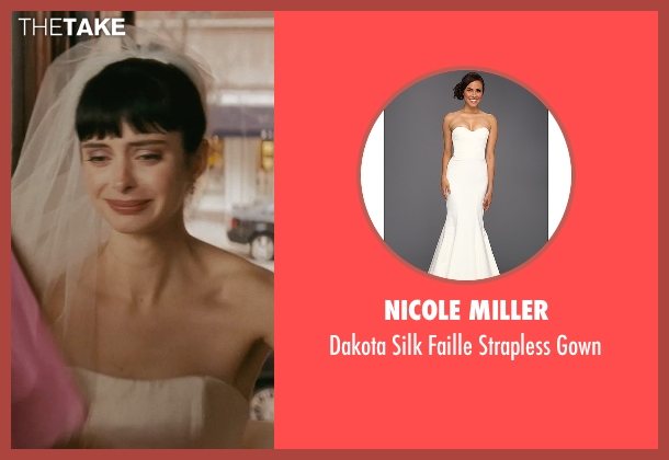 Nicole Miller white gown from Confessions of a Shopaholic seen with Krysten Ritter (Suze)