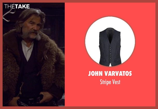 John Varvatos black vest from The Hateful Eight seen with Kurt Russell (John 'The Hangman' Ruth)