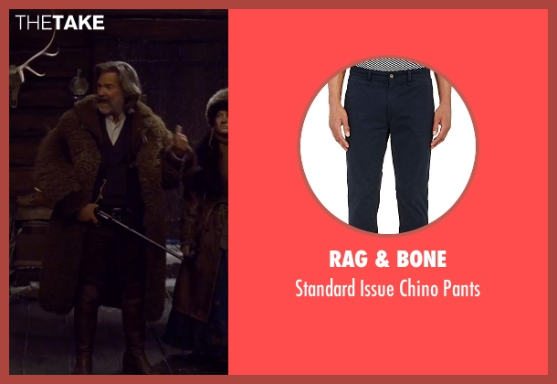 Rag & Bone blue pants from The Hateful Eight seen with Kurt Russell (John 'The Hangman' Ruth)
