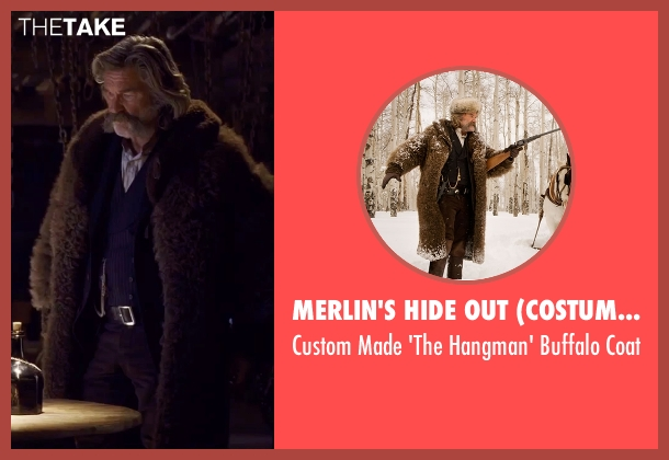 Merlin's Hide Out (Costume Designer) brown coat from The Hateful Eight seen with Kurt Russell (John 'The Hangman' Ruth)