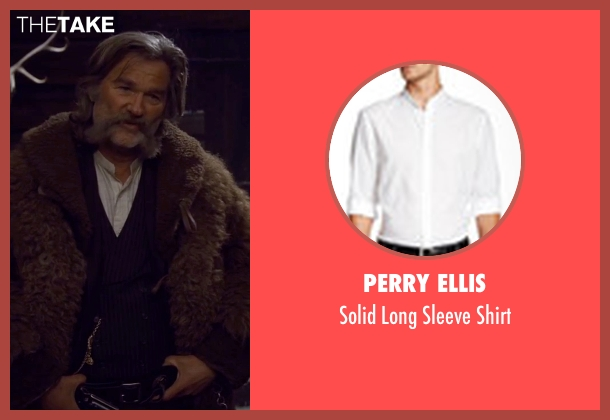 Perry Ellis white shirt from The Hateful Eight seen with Kurt Russell (John 'The Hangman' Ruth)