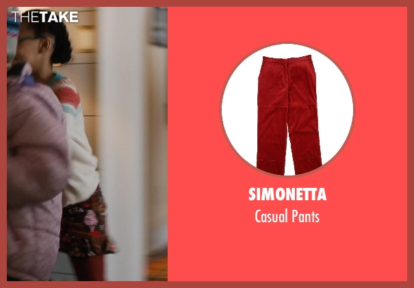 Simonetta red pants from Prisoners seen with Kyla Drew Simmons (Joy Birch)