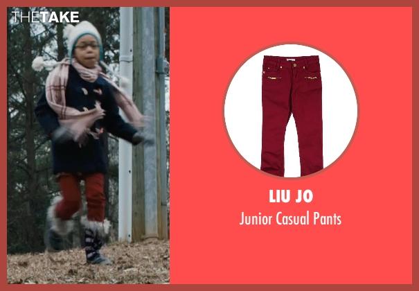 Liu Jo red pants from Prisoners seen with Kyla Drew Simmons (Joy Birch)