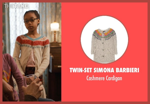Twin-Set Simona Barbieri white cardigan from Prisoners seen with Kyla Drew Simmons (Joy Birch)