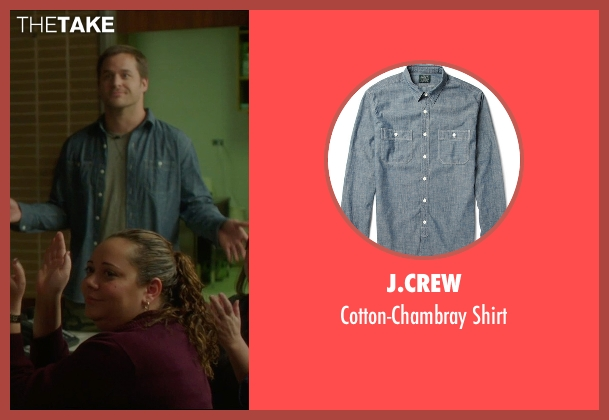 J.Crew blue shirt from The D Train seen with Kyle Bornheimer (Randy)
