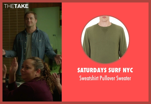 Saturdays Surf NYC green sweater from The D Train seen with Kyle Bornheimer (Randy)