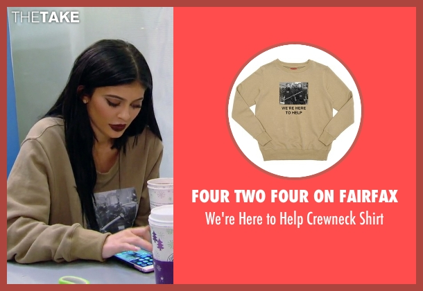 Four Two Four On Fairfax beige shirt from Keeping Up With The Kardashians seen with Kylie Jenner