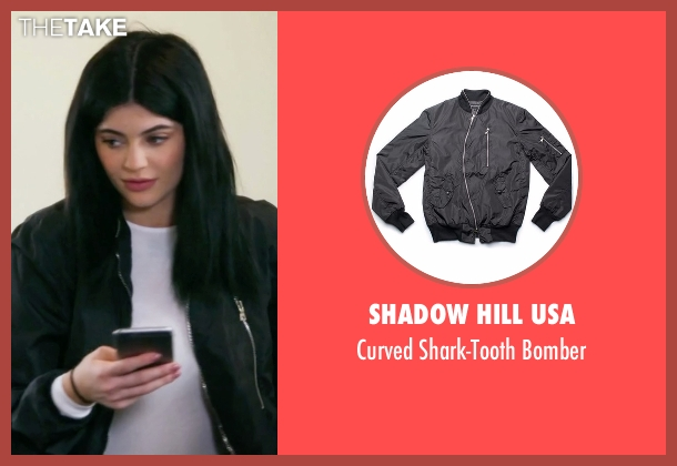 Shadow Hill USA black bomber from Keeping Up With The Kardashians seen with Kylie Jenner