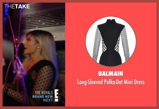 Balmain black dress from Keeping Up With The Kardashians seen with Kylie Jenner