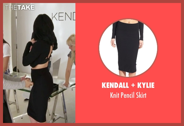 Kendall + Kylie black skirt from Keeping Up With The Kardashians seen with Kylie Jenner