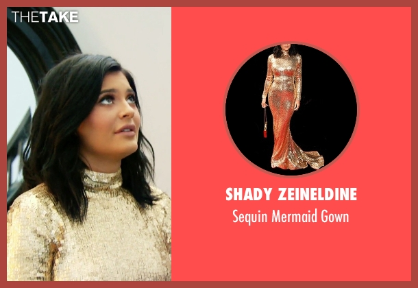Shady Zeineldine gold gown from Keeping Up With The Kardashians seen with Kylie Jenner