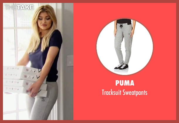 Puma gray sweatpants from Keeping Up With The Kardashians seen with Kylie Jenner
