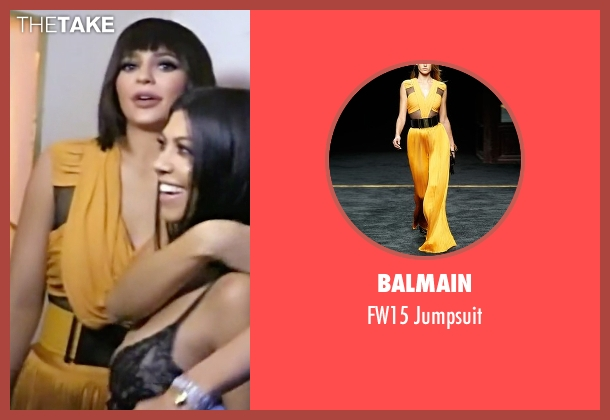 Balmain yellow jumpsuit from Keeping Up With The Kardashians seen with Kylie Jenner
