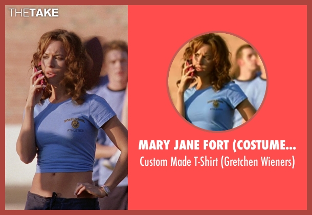 Mary Jane Fort (Costume Designer) blue t-shirt from Mean Girls seen with Lacey Chabert (Gretchen Wieners)