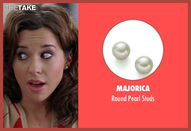 Majorica white studs from Mean Girls seen with Lacey Chabert (Gretchen Wieners)