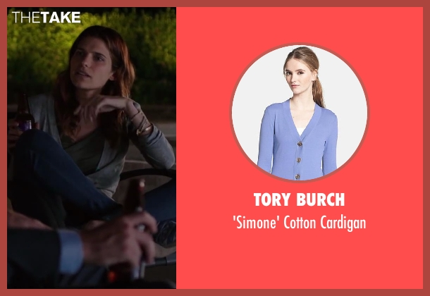 Tory Burch blue cardigan from Million Dollar Arm seen with Lake Bell (Brenda Paauwe)