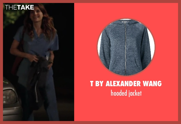 T BY ALEXANDER WANG blue jacket from Million Dollar Arm seen with Lake Bell (Brenda Paauwe)