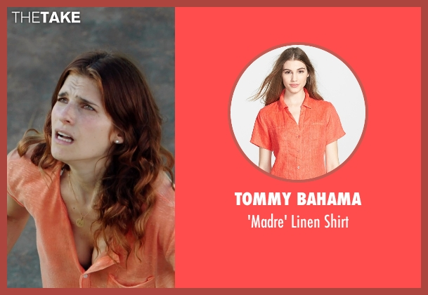 Tommy Bahama orange shirt from No Escape seen with Lake Bell (Annie Dwyer)
