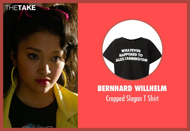 Bernhard Willhelm black shirt from X-Men: Apocalypse seen with Lana Condor (Jubilation Lee / Jubilee)