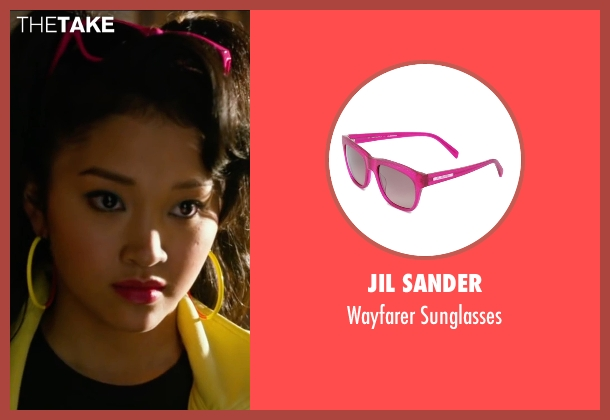 Jil Sander pink sunglasses from X-Men: Apocalypse seen with Lana Condor (Jubilation Lee / Jubilee)